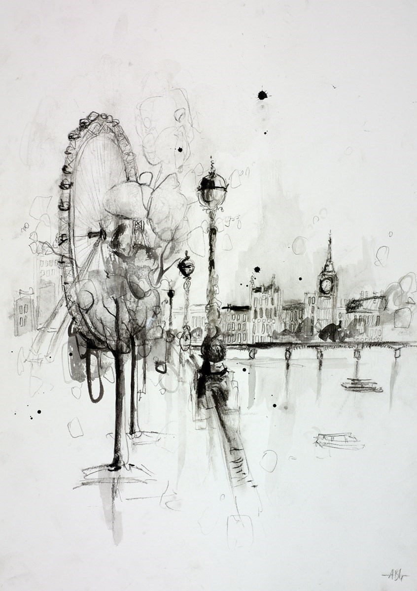 London Embankment Sketch I by Anna Gammans -  sized 12x17 inches. Available from Whitewall Galleries